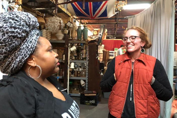 Kalena Boller meets with Samita Wolfe at Film Biz Recycling in Savannah, Georgia.
