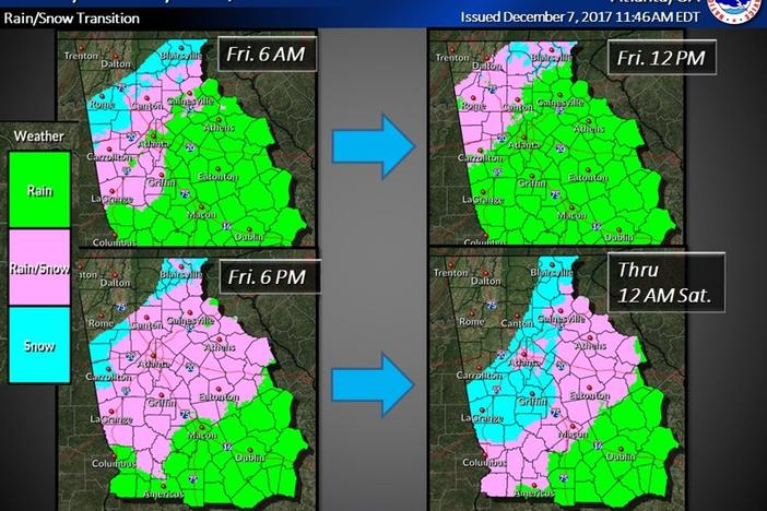 The National Weather Service provided this timeline for Friday's anticipated wintry mix.