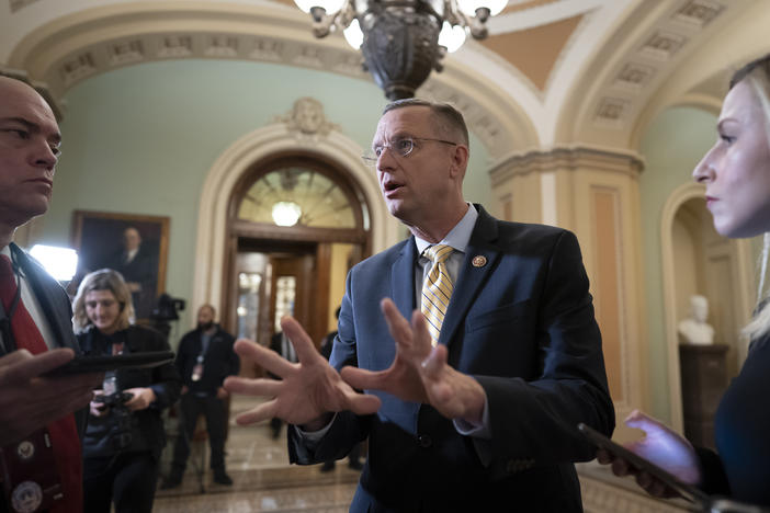 Rep. Doug Collins, the ranking member of the House Judiciary Committee, speaks to reporters outside the Senate as defense arguments by the Republicans resume in the impeachment trial of President Donald Trump in Washington on Monday, Jan. 27, 2020.