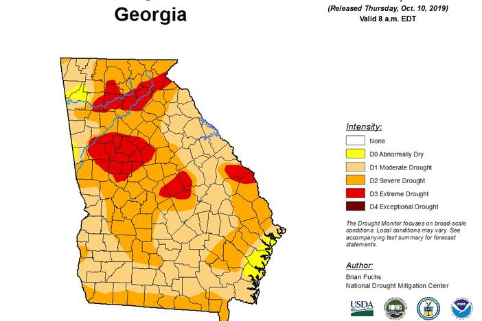 The drought monitor report for the Week of Oct. 8 shows pockets of 'extreme drought' in areas north and south of Atlanta, in central Georgia and near the South Carolina border.