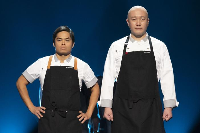 "Chef Ronald Hsu (left) and chef Shin Takagi (right) competed together on the Netflix cooking show, ""The Final Table."""