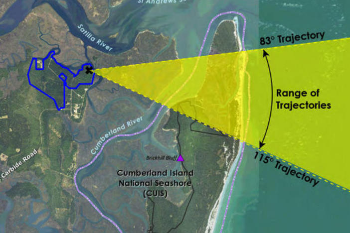 FAA Document Showing Possible Flight Path from Spaceport over marshes and Cumberland and Little Cumberland Island