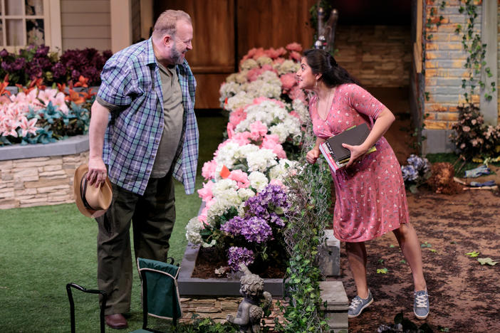 Bart Hansard (Frank Butley) and Fedra Ramirez-Olivares (Tania del Valle) in Native Gardens at Aurora Theatre in Lawrenceville