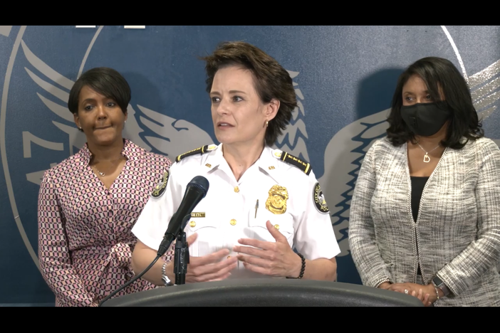Atlanta police chief Erika Shields answers questions about out-of-state protestors being involved in the city's protests during a press conference on May 31.
