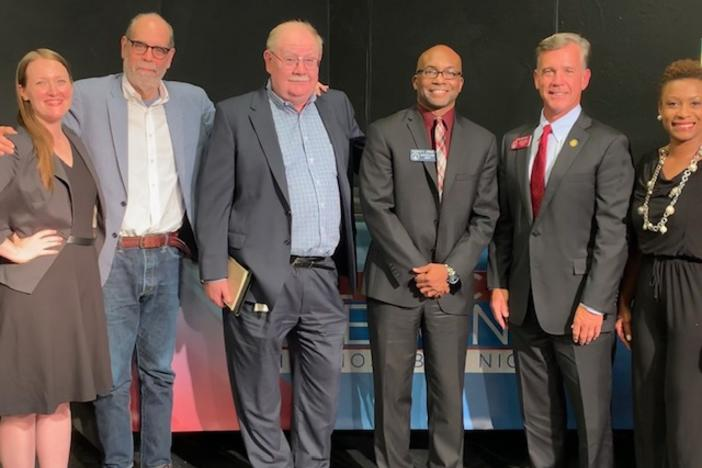 Political Rewind in Augusta, August 12, 2019. (L to R): Mary-Kate Lizotte, Bill Nigut, Jim Galloway, State Sen. Harold Jones, State Rep. Mark Newton, Monique Williams.