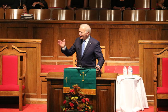Presidential candidate and former Vice President Joe Biden speaks to the congregation of 16th Street Baptist Church in Birmingham, Alabama on Sept. 15, 2019.