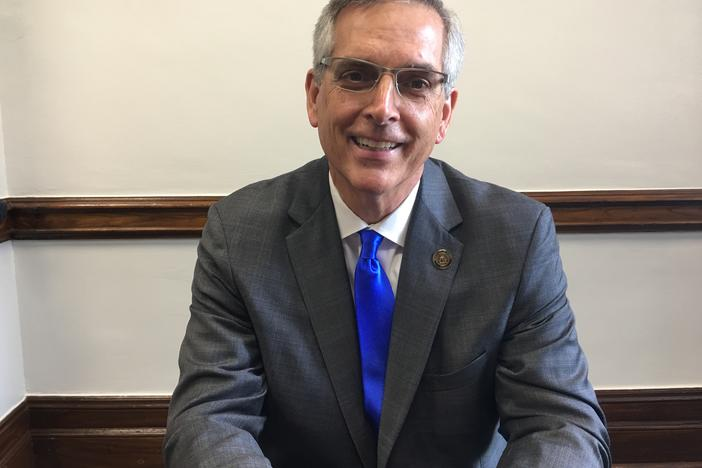 Georgia Secretary of State Brad Raffensperger sits in his office Tues. July 30, 2019.