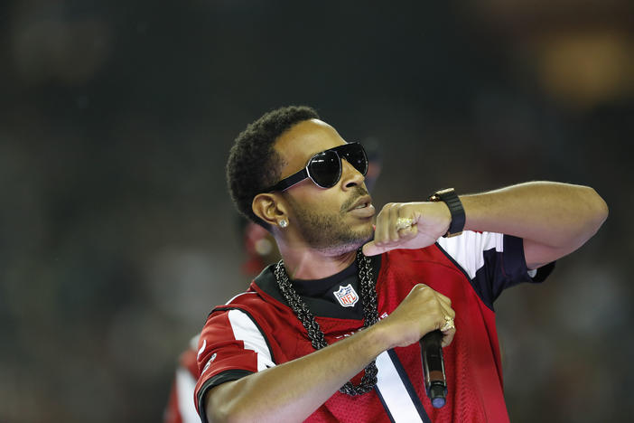 Hip-hop artist Ludacris performs at halftime during an NFL football game between the Atlanta Falcons and the Seattle Seahawks, Saturday, Jan. 14, 2017, in Atlanta.