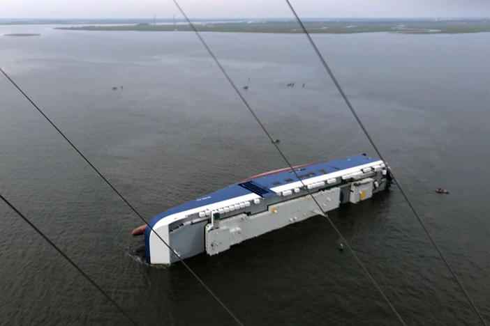 The capsized shipping vessel near St. Simons Island.