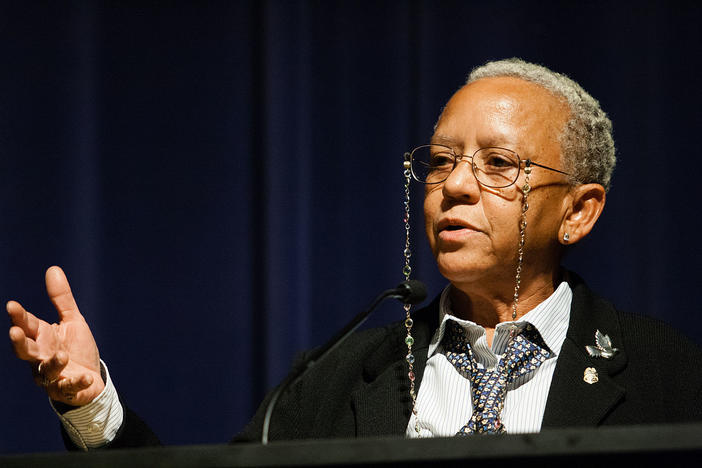 Nikki Giovanni speaking at Emory University in 2008. She returns to Emory for a free reading this weekend, at 4 p.m. on Saturday, Feb. 22.