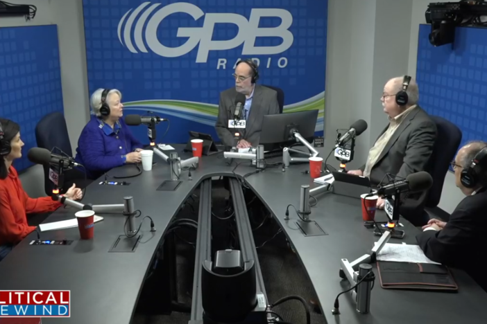 A screenshot of the Political Rewind panel in studio at Georgia Public Broadcasting Friday, March 6, 2020.
