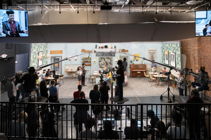The set of G.R.I.T.S, a sitcom produced by students at The Savannah College of Art and Design. A live audience watches the taping at Hamilton Hall on March 8, 2019.
