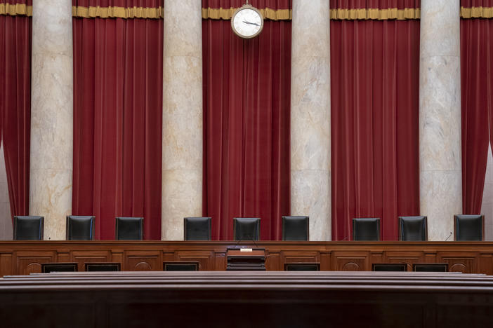 The empty courtroom is seen at the U.S. Supreme Court in Washington.