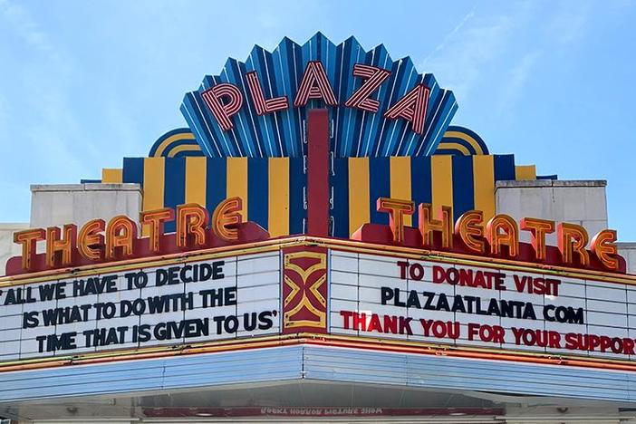 Atlanta's Plaza Theater marquee features coronavirus messages. This image is among the artifacts collected by the Atlanta History Center to document life during the pandemic.