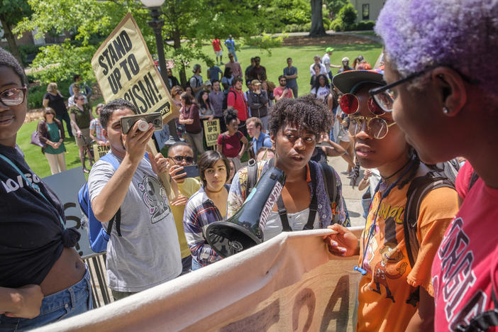 Protesters marched on the steps of UGA's Administration Building this spring to demand reparations.