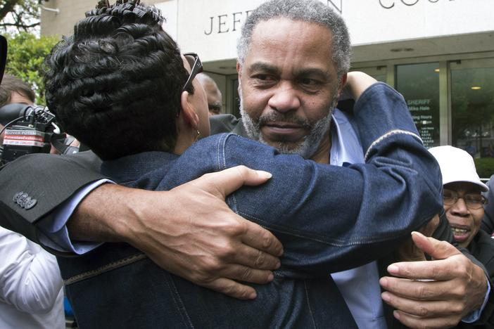 Pat Turner, left, hugs Anthony Ray Hinton as he leaves the Jefferson County jail in Birmingham, Alabama.