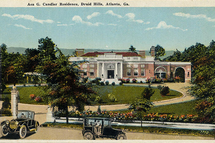 Postcard showing Coca-Cola founder Asa Candler's house in Druid Hills