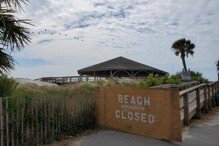 Tybee Island's wooden beach crossovers are closed, though the beaches are technically open.