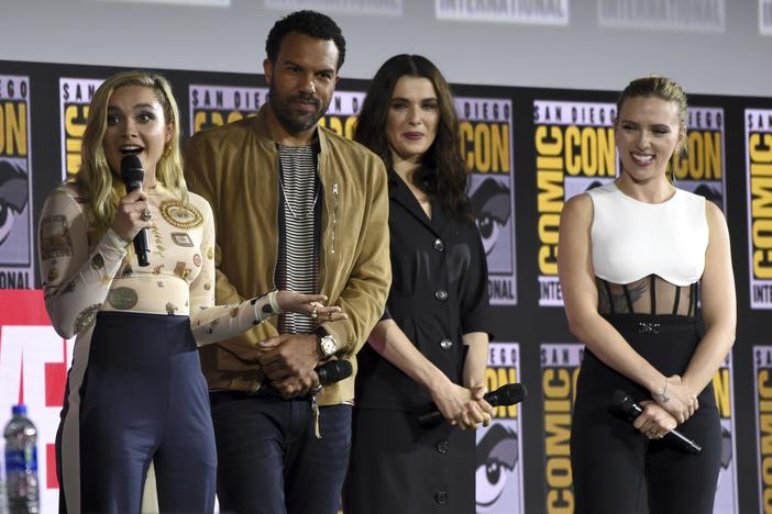 "(From left) Florence Pugh, O. T. Fagbenle, Rachel Weisz and Scarlett Johansson participate during the ""Black Widow"" portion of the Marvel Stuadios panel on day three of Comic-Con Interntional Saturday, July 20, 2019, in San Diego."