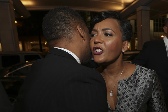 Atlanta mayoral candidate Keisha Lance Bottoms is greeted by a well-wisher as she arrives for an election-night watch party Tuesday, Dec. 5, 2017, in Atlanta.