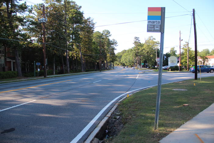 A view of Clairmont Road outside Decatur city limits where the same roadway is called Clairemont Avenue