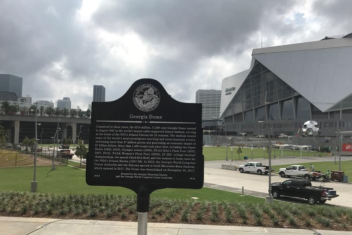 The historical marker that sits at the former site of the Georgia Dome.