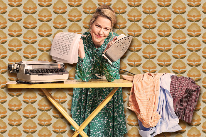 Atlanta actress Lane Carlock stars as the title character in the play 'Erma Bombeck: At Wit's End.' The play finishes a sold-out run Sunday at Lawrenceville's Aurora Theatre.