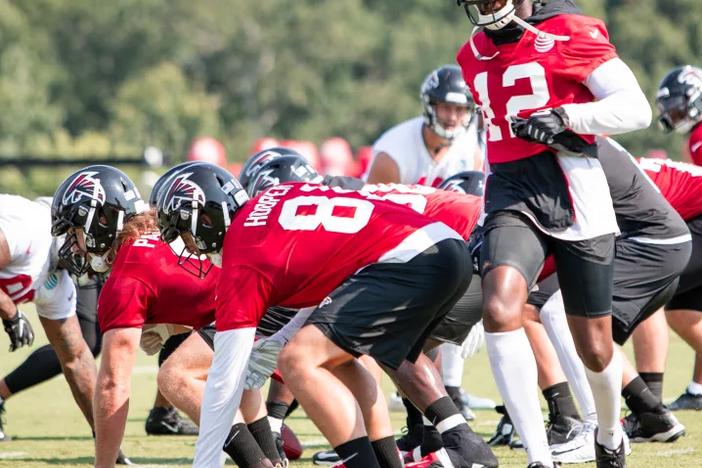 Atlanta Falcons wide receiver Mohamed Sanu (#12) on the eighth day of practice.