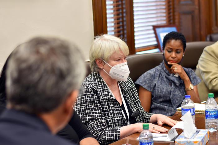 Fulton County Elections Board Chair Mary Carole Cooney speaks at a meeting with the secretary of state Monday, June 22, 2020.