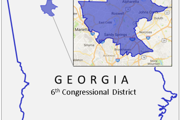 Georgia's 6th Congressional District includes Cobb County, Northern Fulton County and parts of Dekalb County.