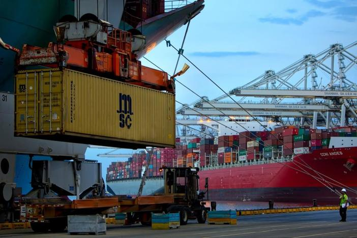 Ship-to-shore cranes at the Garden City Terminal run on electric and generate some of their own power. But environmental groups question whether measures like that do enough to cut the port's emissions.