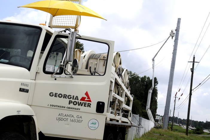 Georgia Power crews install transmission lines along Ga. Hwy 247 in preparation for an electrical substation that will power industrial airfield facilities and associate units.