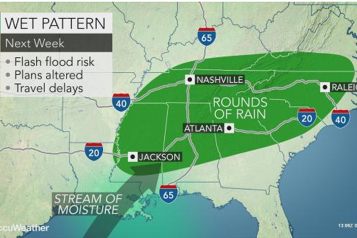 Between 2 and 8 inches of rain is expected this week in Georgia.