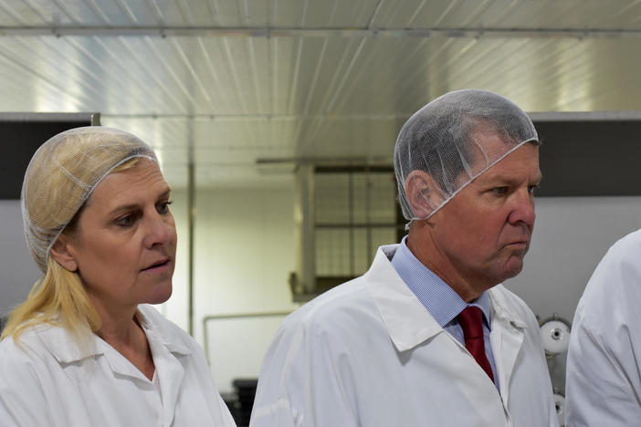 "Gov. Brian Kemp and his wife Marty tour the new Claxton Poultry facility in Sylvania, about three hours southeast of Atlanta. Kemp made the visit as part of his ""Georgia Made"" tour."