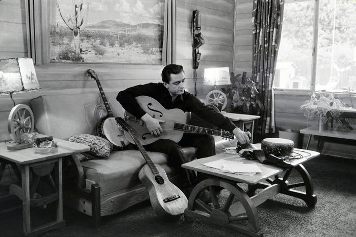 Johnny Cash at his home in California, 1960