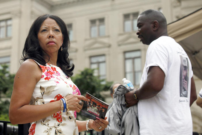 "Lucy McBath, left, and her husband Ron Davis participate in a gun control rally as part of the ""No More Names: National Drive to Reduce Gun Violence,"" a 25-state national bus tour, at the Georgia Capitol, Monday, June 24, 2013, in Atlanta."