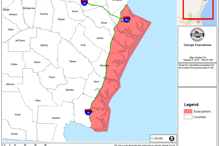 Mandatory evacuation map of coastal Georgia.