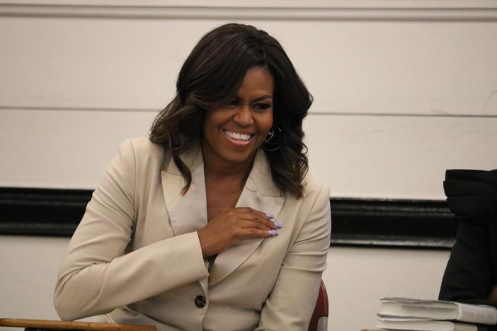 Former first lady Michelle Obama makes a surprise visit to Spelman College in Atlanta on Saturday, May 11.