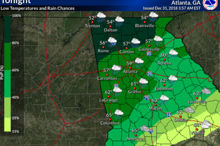 Expected rainfall Monday