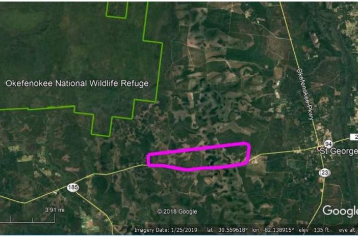 A rendering shows the proposed mine site, in pink, relative to the Okefenokee National Wildlife Refuge.