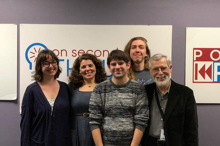Producer Maura Currie, host Celeste Headlee, producer/reporter Sean Powers, and editor Don Smith on Celeste's last day as host of On Second Thought.