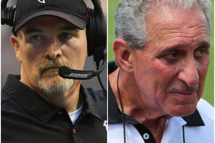 Atlanta Falcons head coach Dan Quinn (left) is on the hot-seat after a 1-7 start. Team owner Arthur Blank (right) will ultimately make the decision on a potential coaching change.