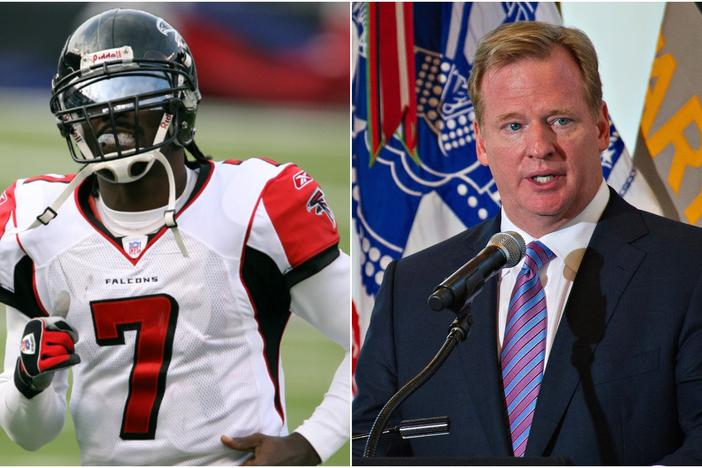 NFL commissioner Roger Goodell (right) says former Falcons' QB Michael Vick (left) will be a part of the league's Pro Bowl game next month despite a popular petition asking Vick to be barred from the event.