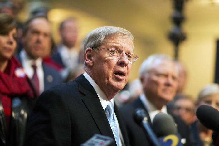 In this Nov. 17, 2014 file photo, Sen. Johnny Isakson, R-Ga., speaks at the state Capitol in Atlanta.