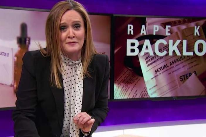 TBS host Samantha Bee talks about the large backlogs of untested rape kits on her show in March 2016.