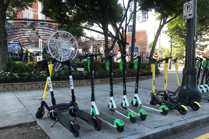 Officials, advocates and pedestrian safety groups are still unsure about what to do with scooters in Atlanta, a year after they first started appearing.
