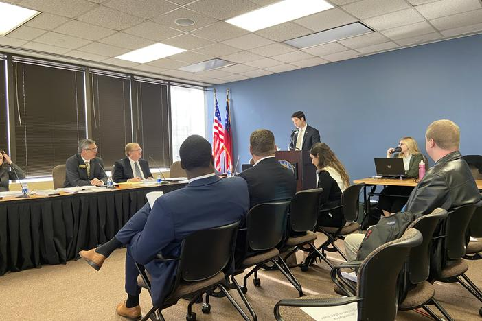 General Counsel Ryan Germany with the secretary of state's office presents proposed rules to the State Election Board.