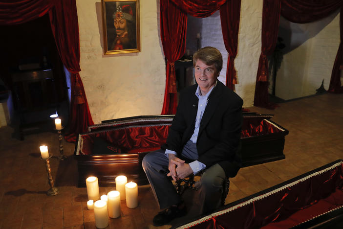 Dacre Stoker, a descendant of Bram Stoker, speaks during an interview at Bran Castle in Bran, Romania, Monday, Oct. 31, 2016.