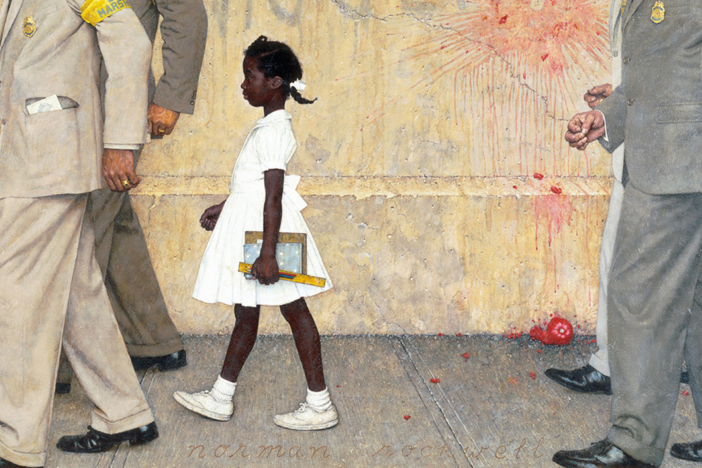 "The 1964 Norman Rockwell painting ""The Problem We All Live With"" depicts six-year-old Ruby Bridges walking to desegregate an all-white public school in New Orleans, Louisiana."