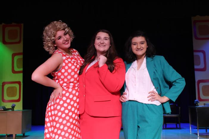 "Abby Wright (center) is a junior at Southeast Whitfield High School in Dalton, Georgia. When her school's production of Dolly Parton's ""9 to 5"" was caneled due to coronavirus, Wright found support through the viral #SunshineSongs hashtag."